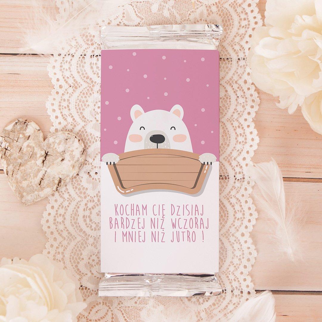 Zdjęcie slidera - CZEKOLADA dla ukochanej Miś Polarny personalizowana
