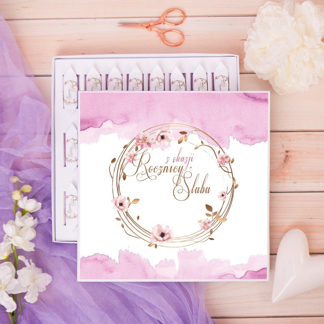 Zdjęcie slidera - BOMBONIERKA z krówkami Rocznica Ślubu Romantyczna Akwarela