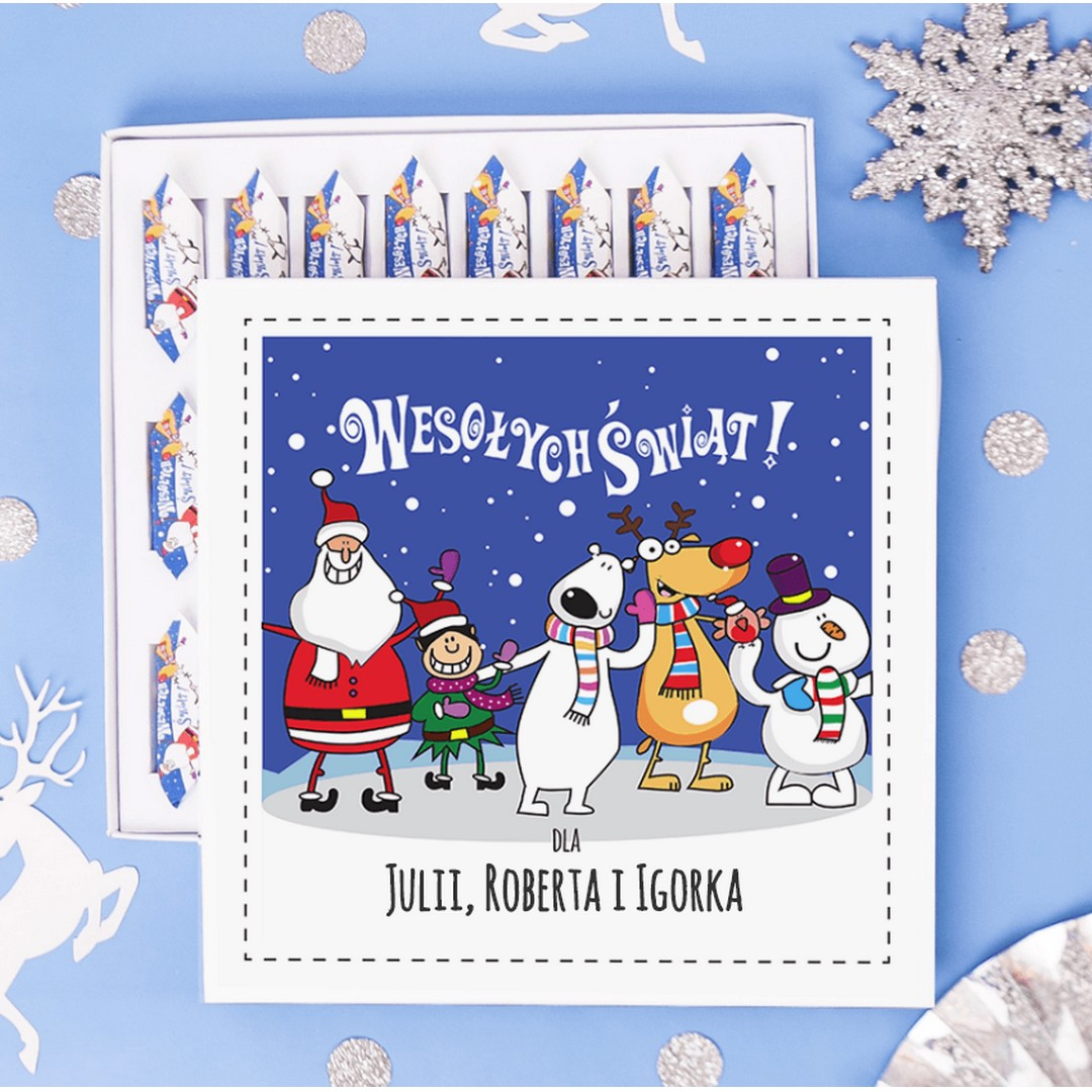 Zdjęcie w galerii - BOMBONIERKA z krówkami świąteczna Ekipa Mikołaja