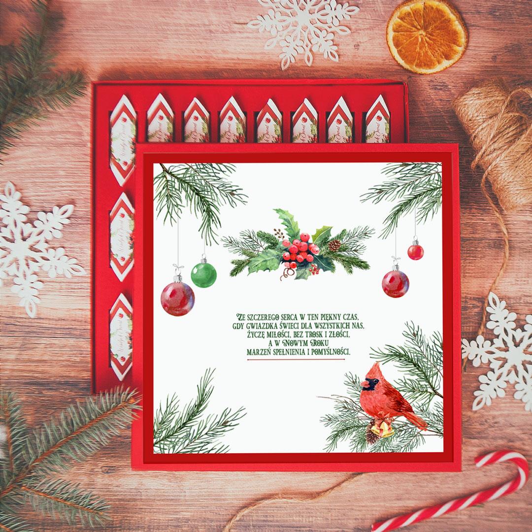 Zdjęcie slidera - BOMBONIERKA z krówkami świąteczna Zimowa Jarzębina