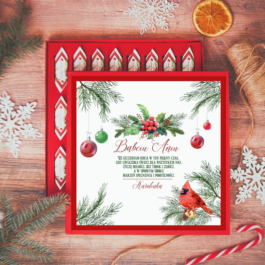 Zdjęcie w galerii - BOMBONIERKA z krówkami świąteczna Zimowa Jarzębina