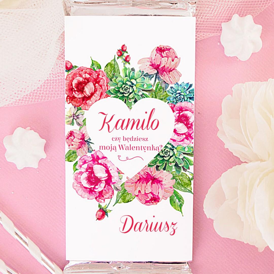 Zdjęcie w galerii - CZEKOLADA Walentynka Pink Flowers
