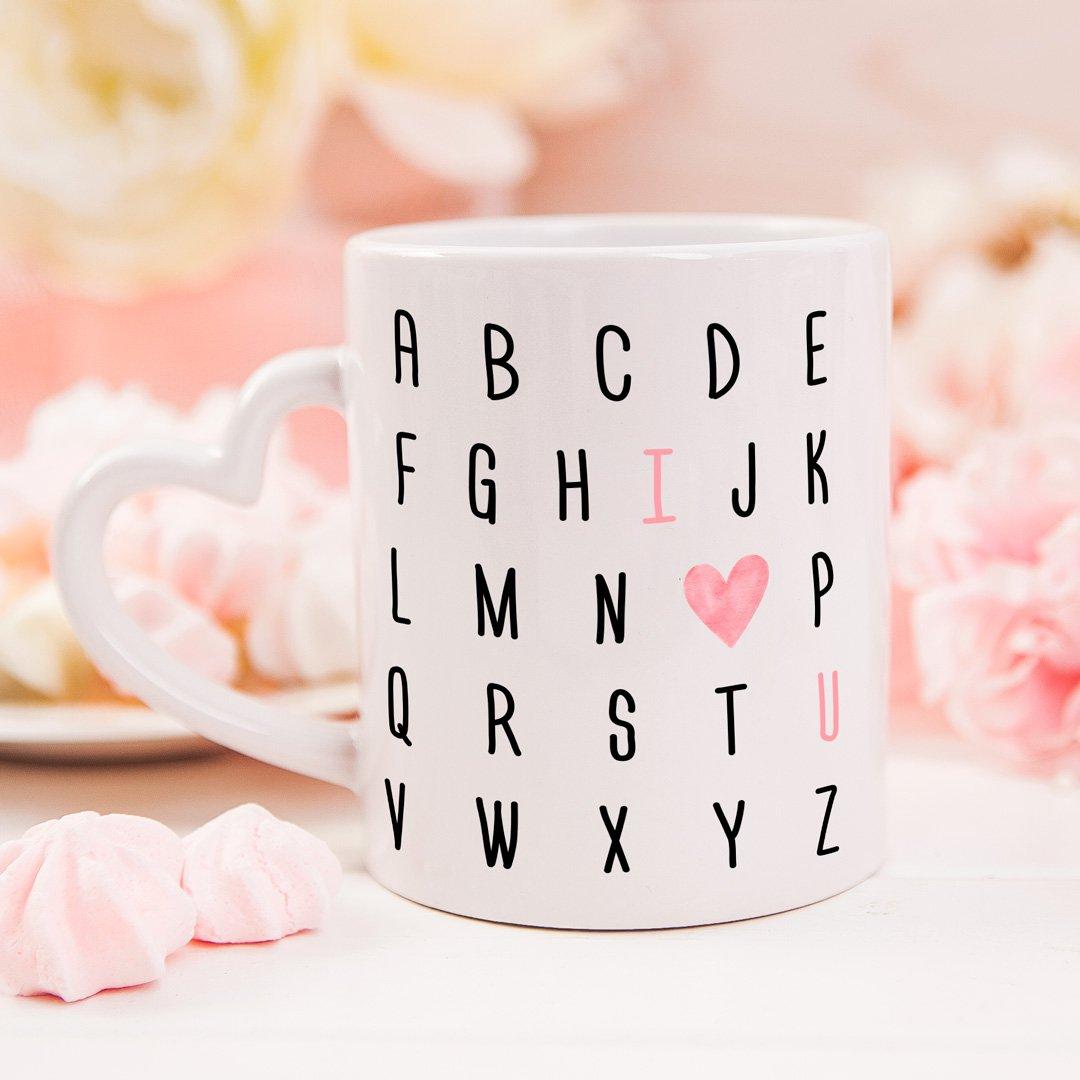 Zdjęcie w galerii - KUBEK prezent I ♥ U z alfabetem personalizowany