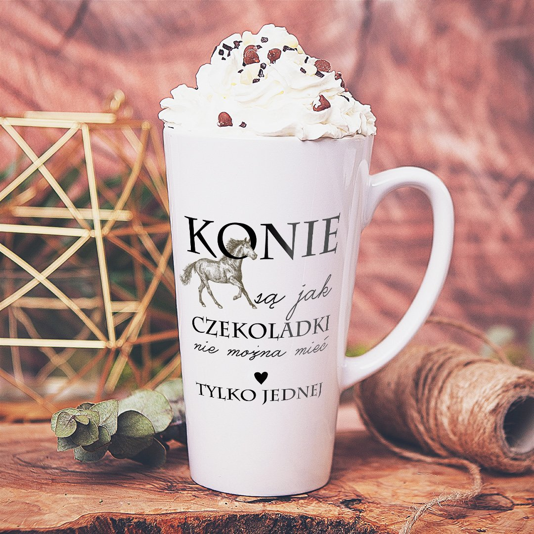 Zdjęcie slidera - KUBEK do latte/cappuccino Konie Są Jak Czekoladki