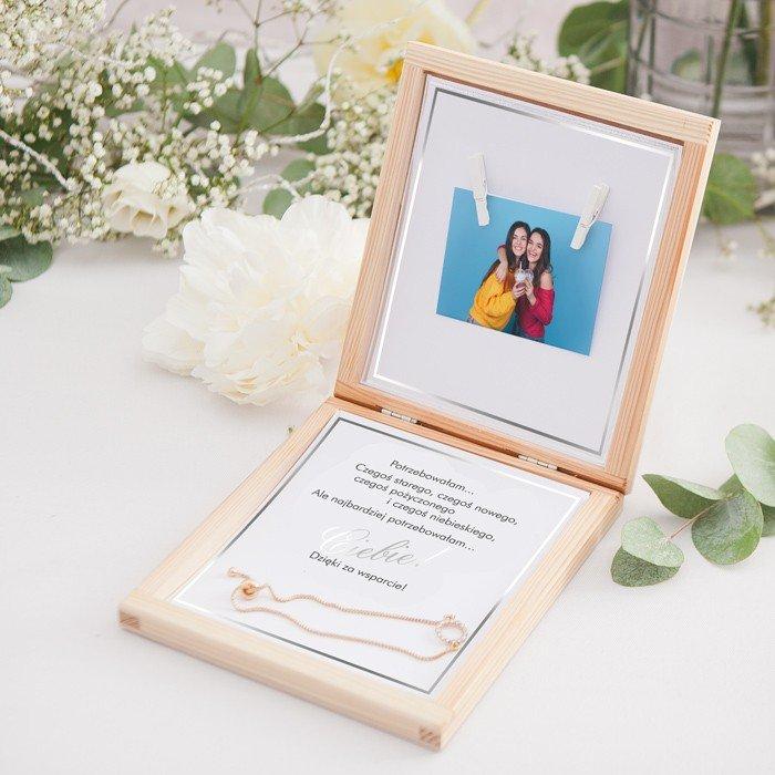 Zdjęcie slidera - PREZENT dla Świadkowej w drewnianym pudełku Bransoletka Klasyczne Srebro