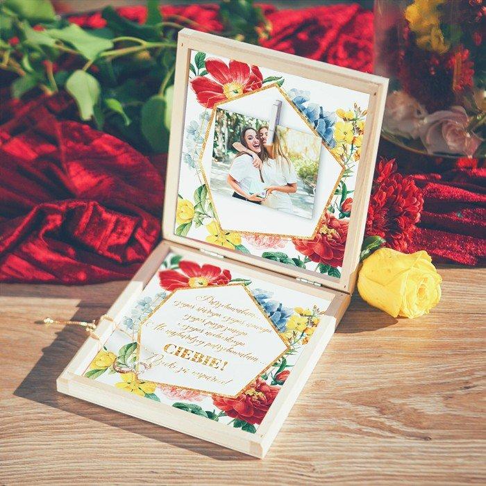 Zdjęcie slidera - PREZENT dla Świadkowej w drewnianym pudełku Bransoletka Kolekcja Flora