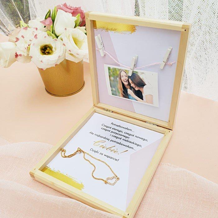 Zdjęcie slidera - PREZENT dla Świadkowej w drewnianym pudełku Bransoletka Różowe Złoto