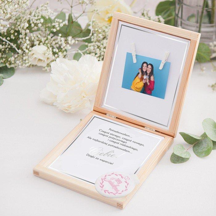 Zdjęcie slidera - PREZENT dla Świadkowej w drewnianym pudełku Lusterko Klasyczne Srebro