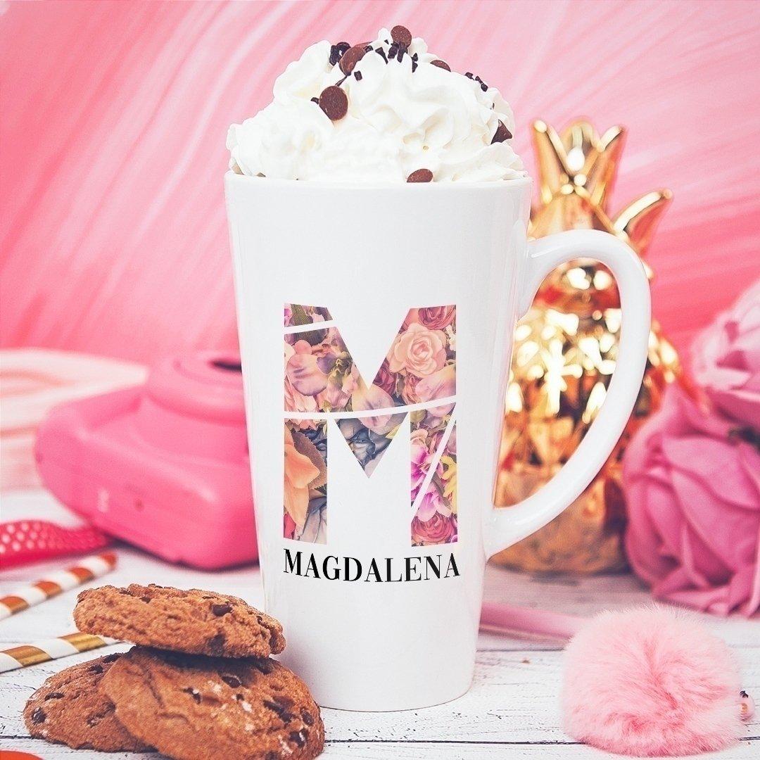 Zdjęcie w galerii - KUBEK duże latte/cappuccino z Kwiatowym Inicjałem