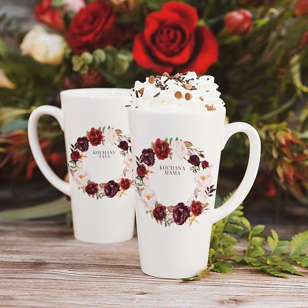 Zdjęcie slidera - KUBKI duże latte/cappuccino komplet dla Mamy i Taty Kwiecista Marsala
