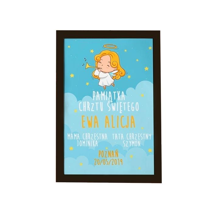 Zdjęcie w galerii - PLAKAT dla dziewczynki METRYCZKA Pamiątka Chrztu Świętego +RAMKA