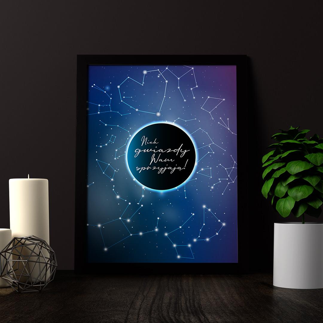 Plakat Dekoracyjny Niech Gwiazdy Wam Sprzyjają Ramka