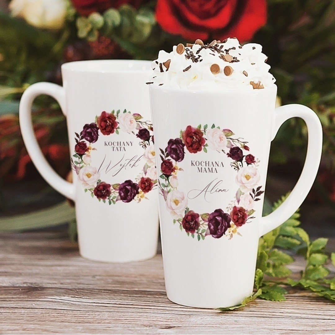 Zdjęcie w galerii - KUBKI duże latte/cappuccino komplet dla Mamy i Taty Kwiecista Marsala