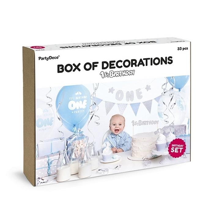 Zdjęcie slidera - ZESTAW dekoracji na roczek dla chłopca BLUE