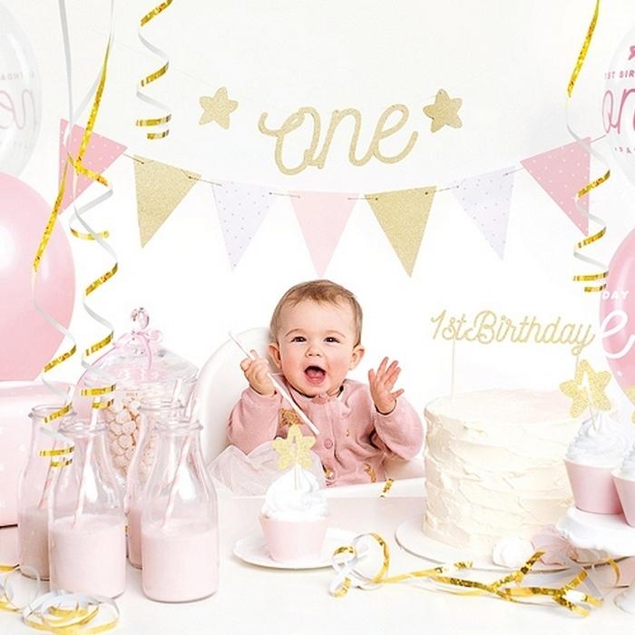 Zdjęcie w galerii - ZESTAW dekoracji na roczek dla dziewczynki PINK