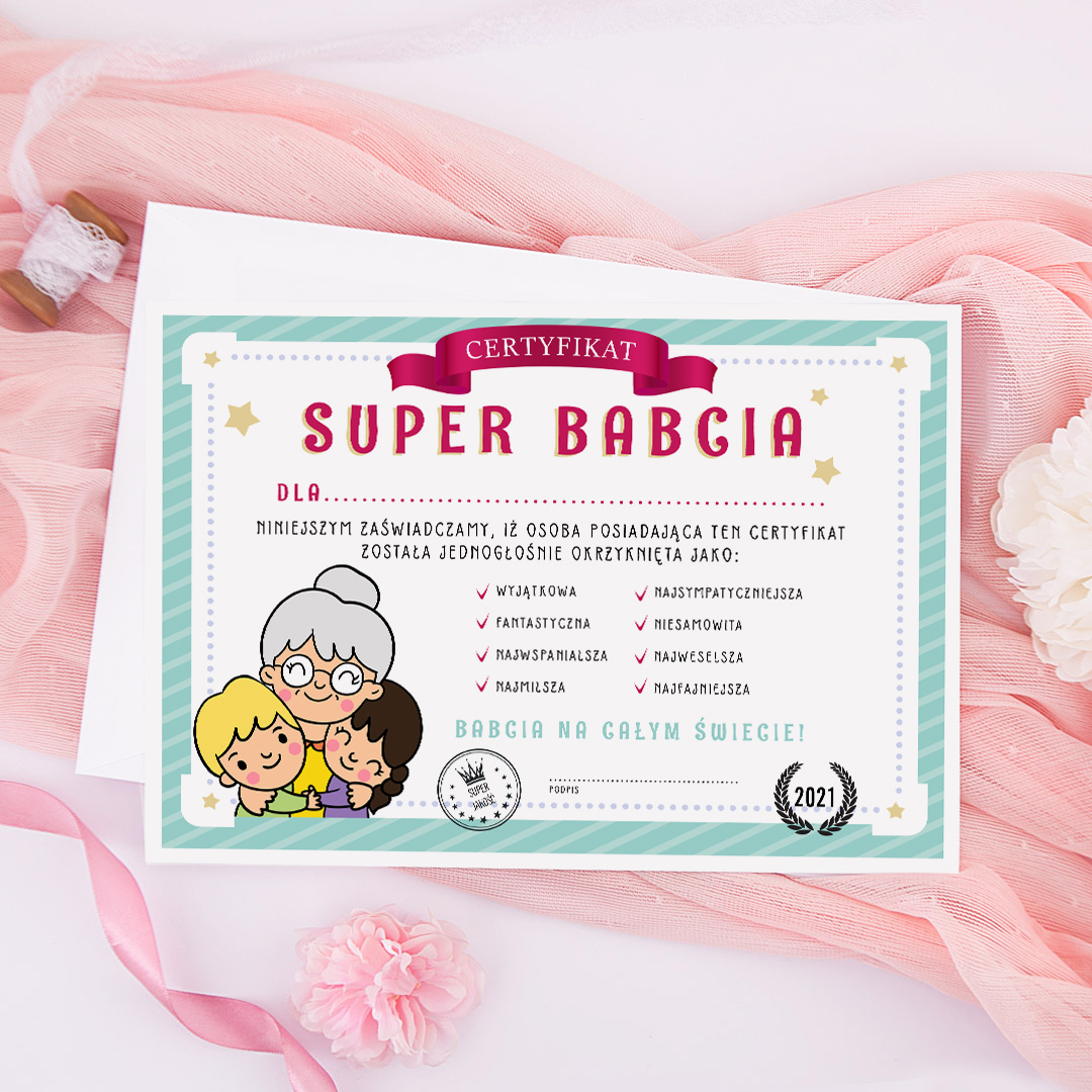 Zdjęcie slidera - CERTYFIKAT prezent dla Babci Super Babcia