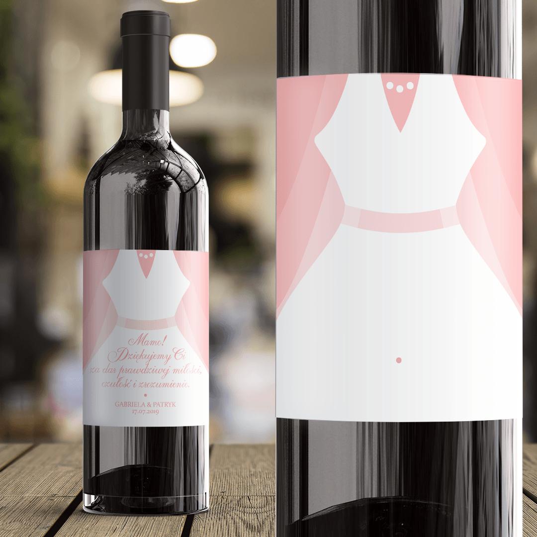 Zdjęcie slidera - ETYKIETA na Wino Prezent Dla Mamy Biała Suknia z Imionami i z Datą