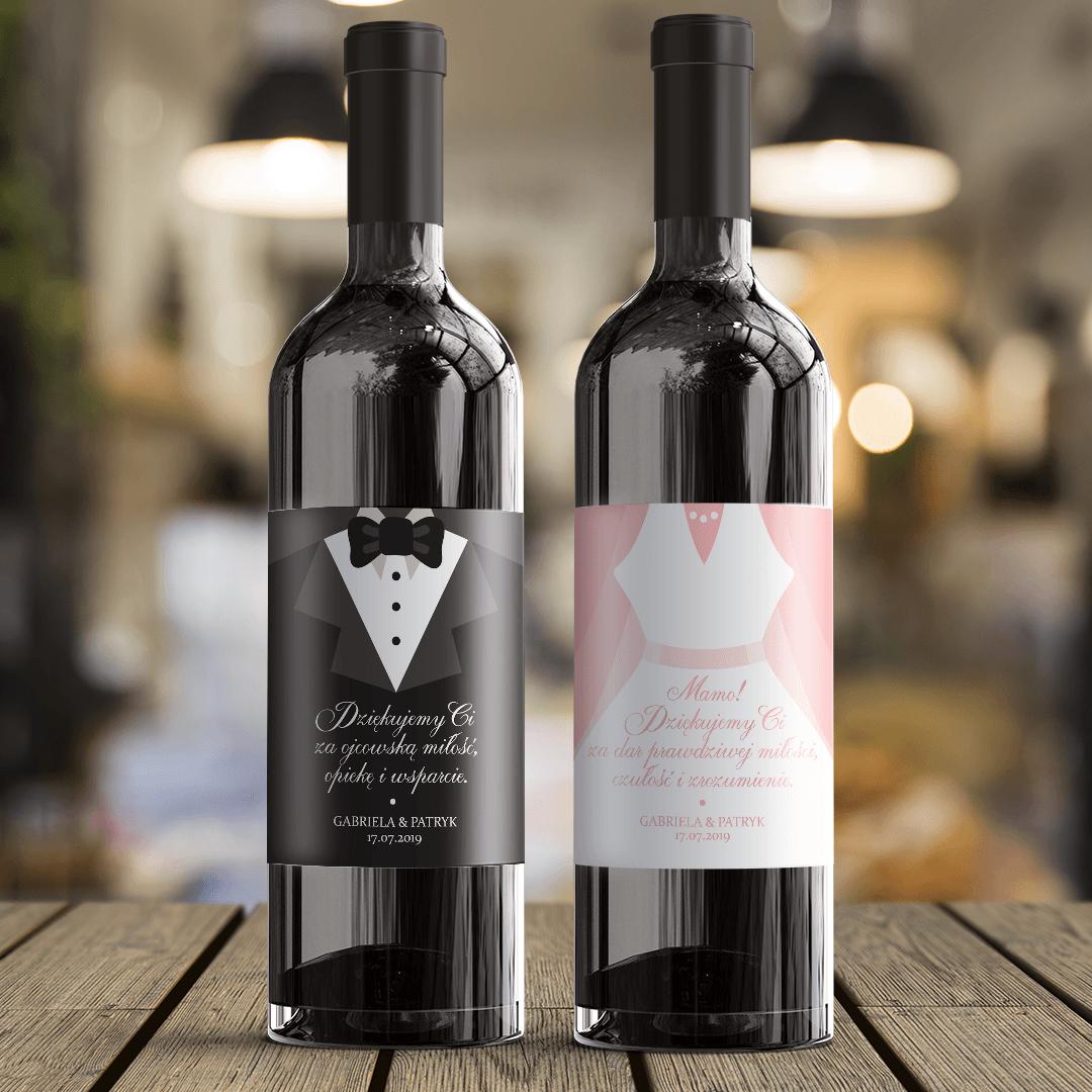 Zdjęcie w galerii - ETYKIETA na Wino Prezent Dla Mamy Biała Suknia z Imionami i z Datą