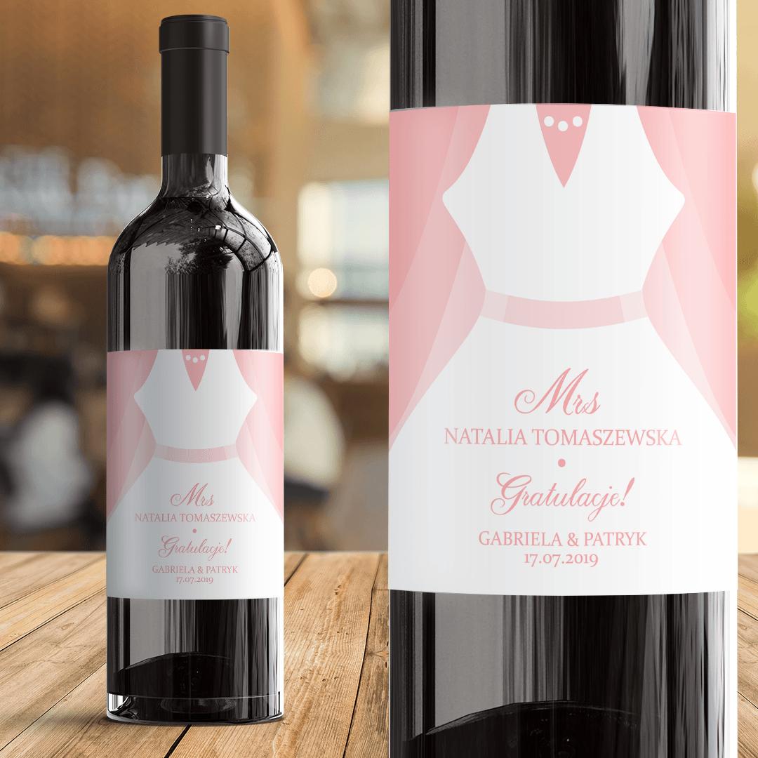 Zdjęcie w galerii - ETYKIETY na wino dla Nowożeńców Gratulacje 2szt