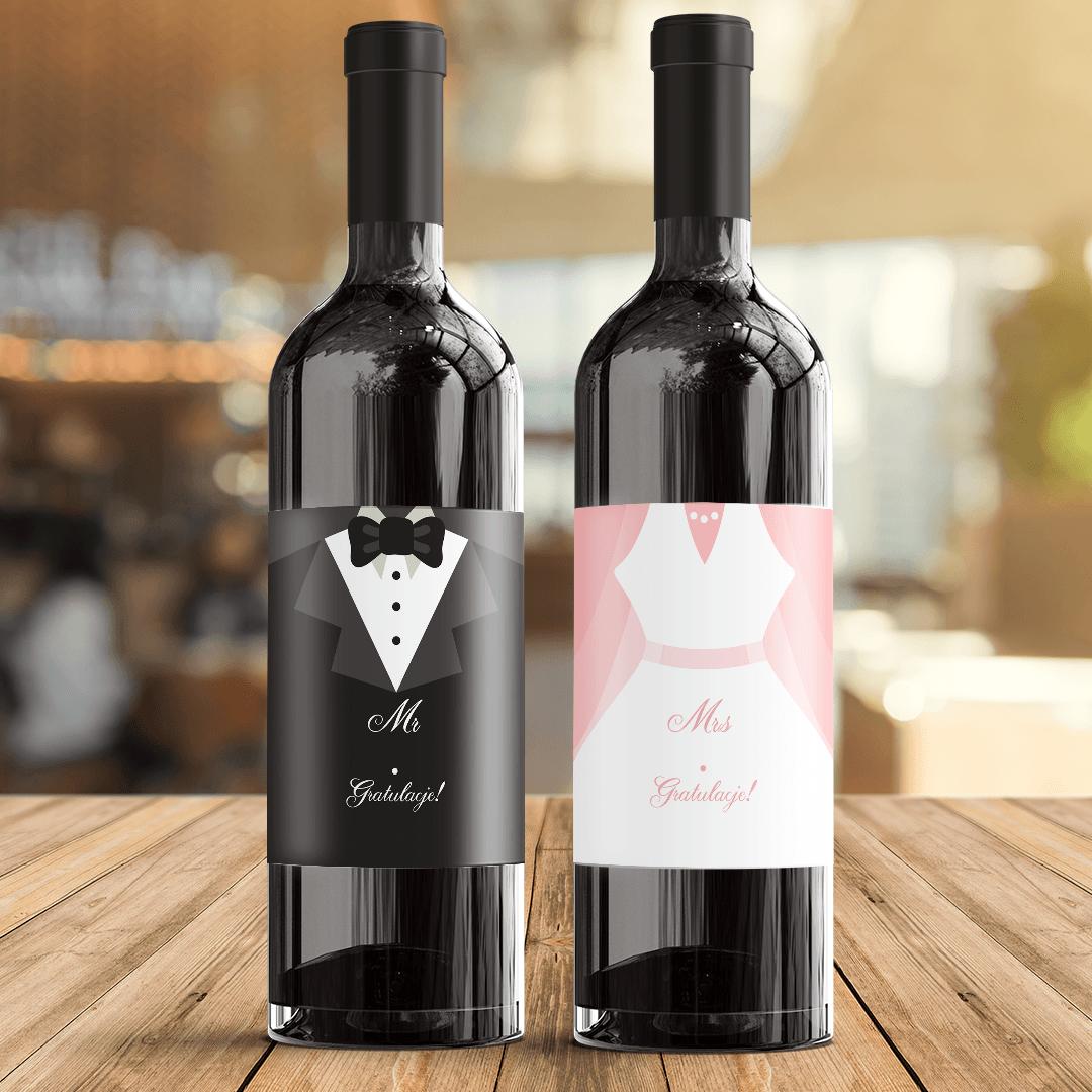 Zdjęcie slidera - ETYKIETY na wino dla Nowożeńców Gratulacje 2szt