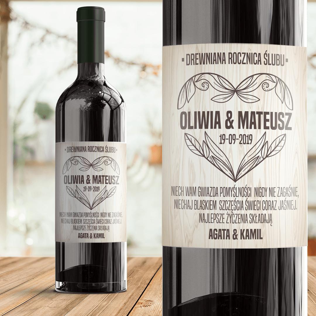 Zdjęcie w galerii - ETYKIETA na wino Prezent na Drewnianą Rocznicę z Imionami