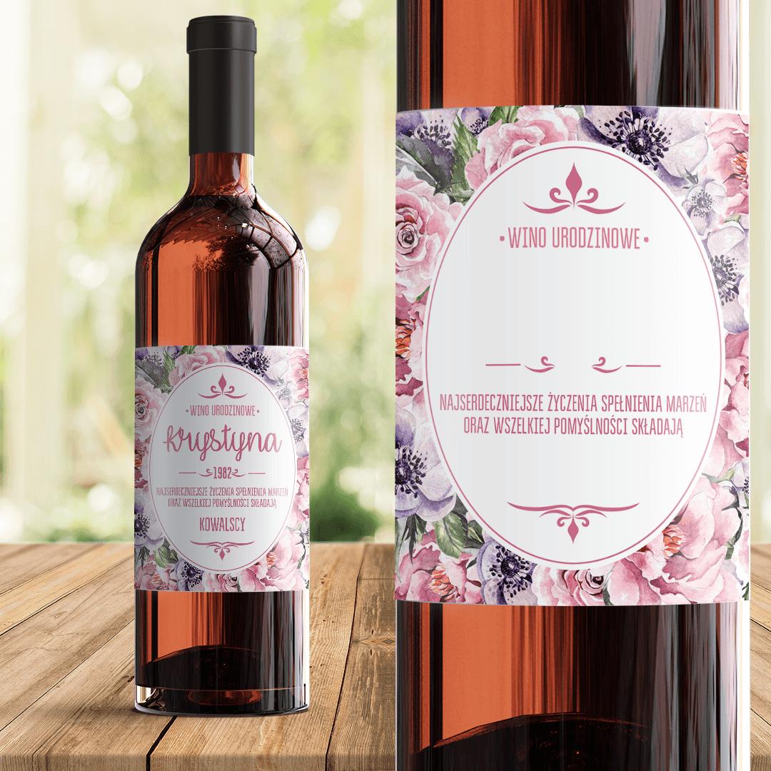 Zdjęcie slidera - ETYKIETA na wino prezent urodzinowy Różany Ogród