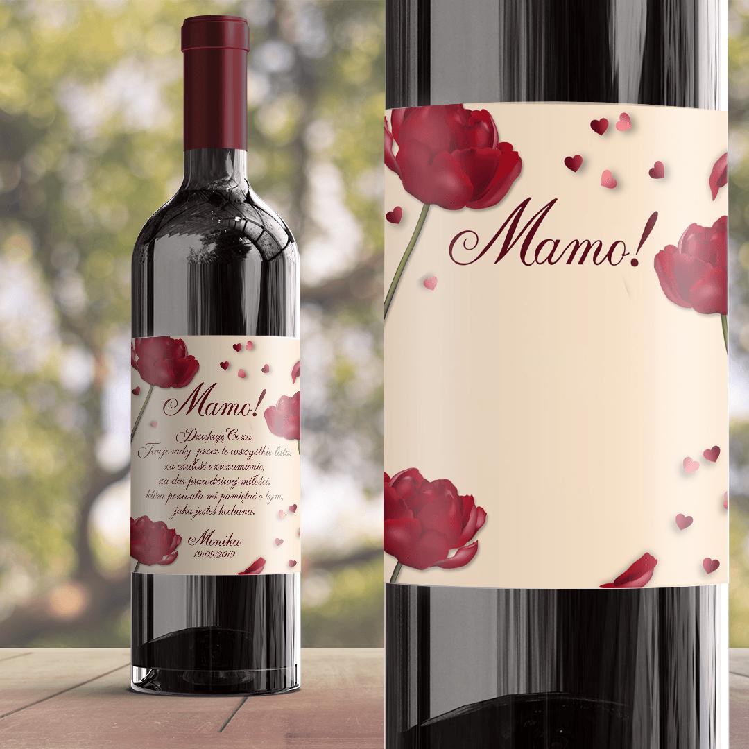 Zdjęcie slidera - ETYKIETA na wino prezent dla Mamy Czerwona Róża