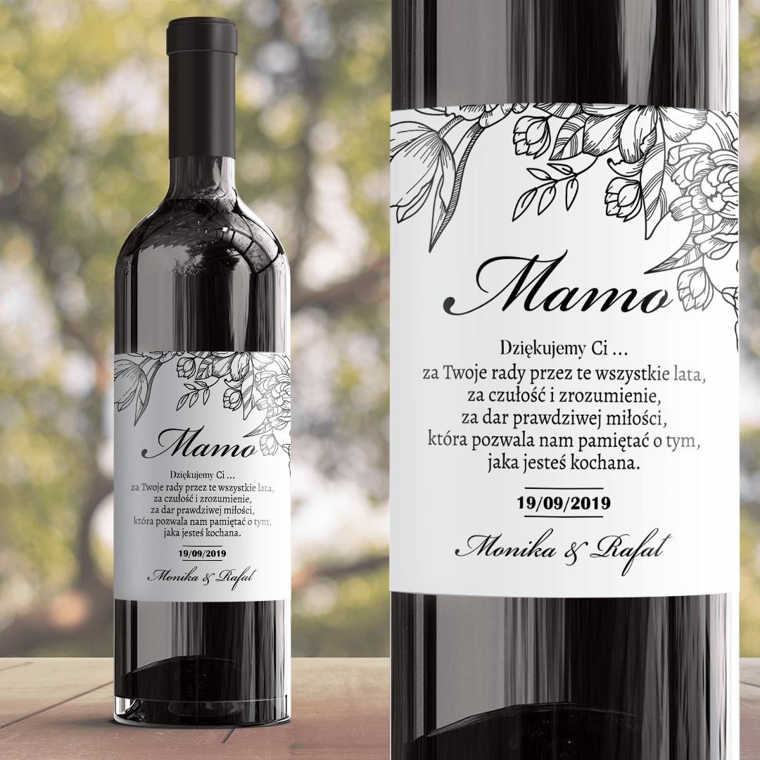 Zdjęcie w galerii - ETYKIETA na wino prezent dla Mamy Piękno Kwiatu