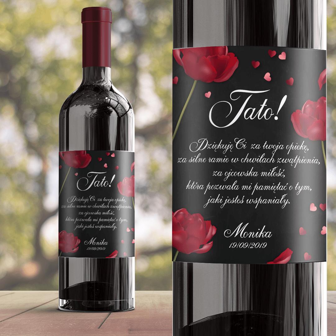 Zdjęcie w galerii - ETYKIETA na wino dla Taty Czerwona Róża