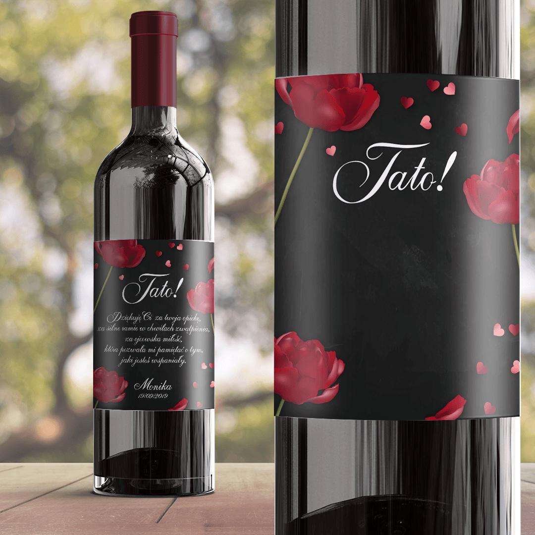 Zdjęcie slidera - ETYKIETA na wino dla Taty Czerwona Róża