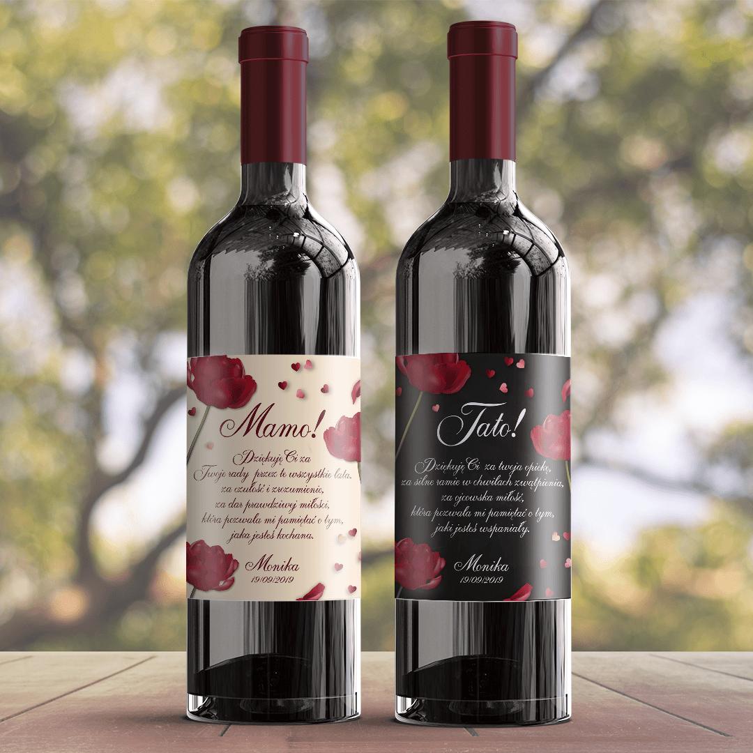 Zdjęcie w galerii - ETYKIETA na wino prezent dla Mamy Czerwona Róża
