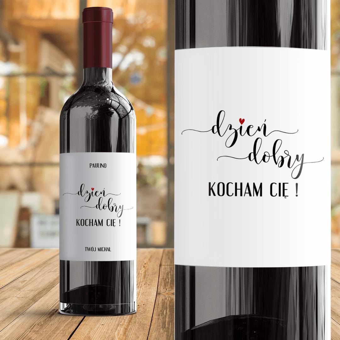Zdjęcie slidera - ETYKIETA na wino prezent dla ukochanej osoby Dzień Dobry Kocham Cię