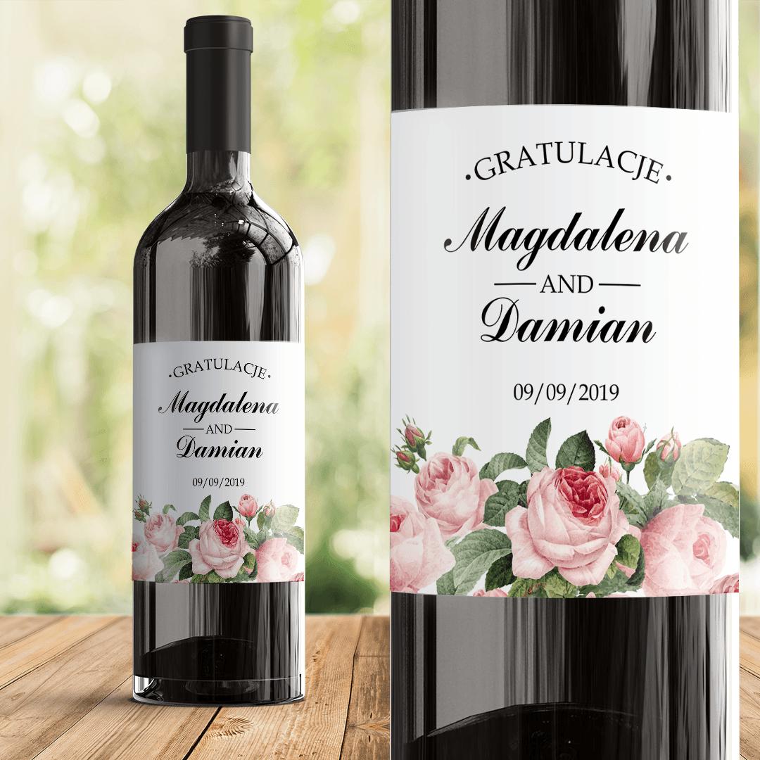 Zdjęcie w galerii - ETYKIETA na wino na Rocznicę/ z okazji Ślubu Różana