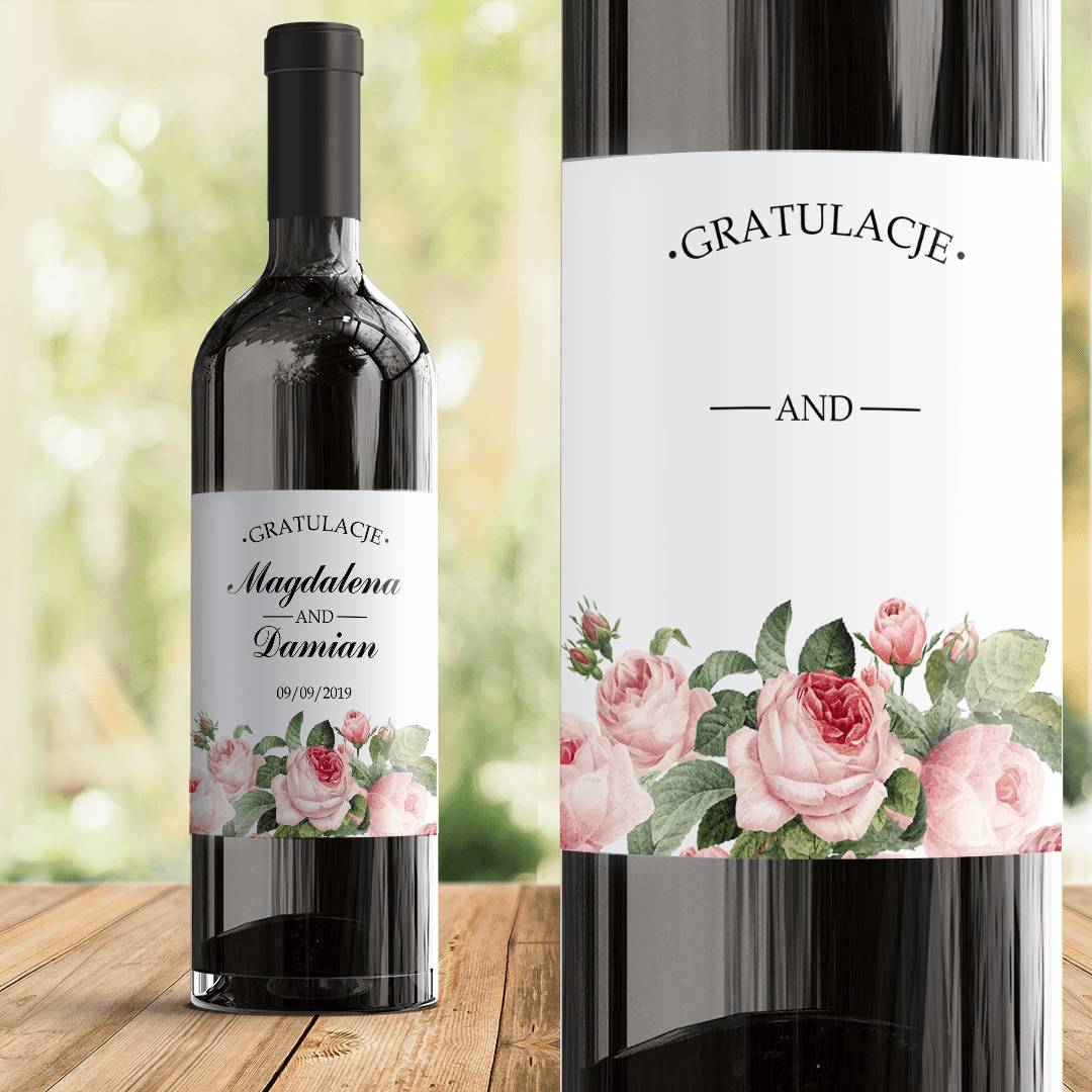 Zdjęcie slidera - ETYKIETA na wino na Rocznicę/ z okazji Ślubu Różana