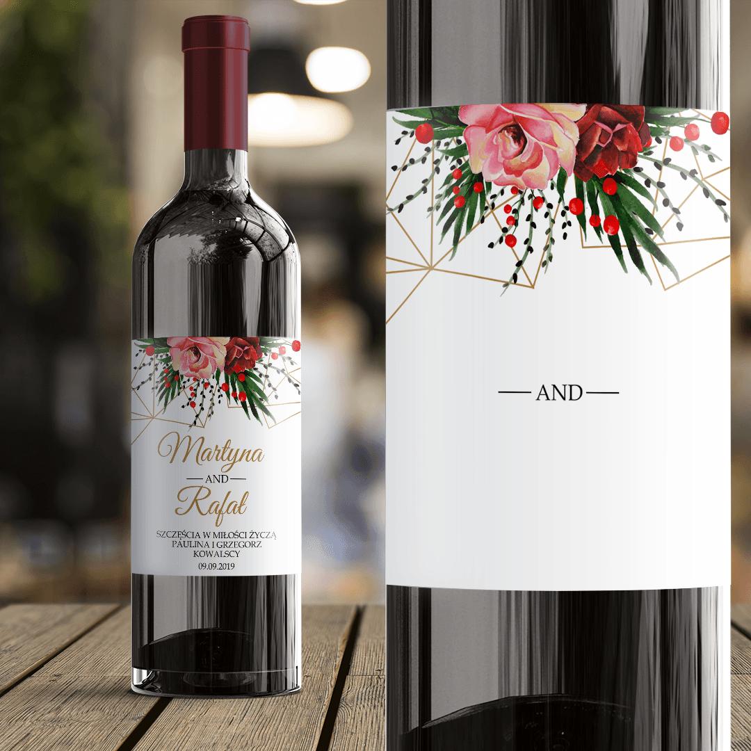 Zdjęcie slidera - ETYKIETA na Wino Prezent Ślubny Życzenia dla Nowożeńców