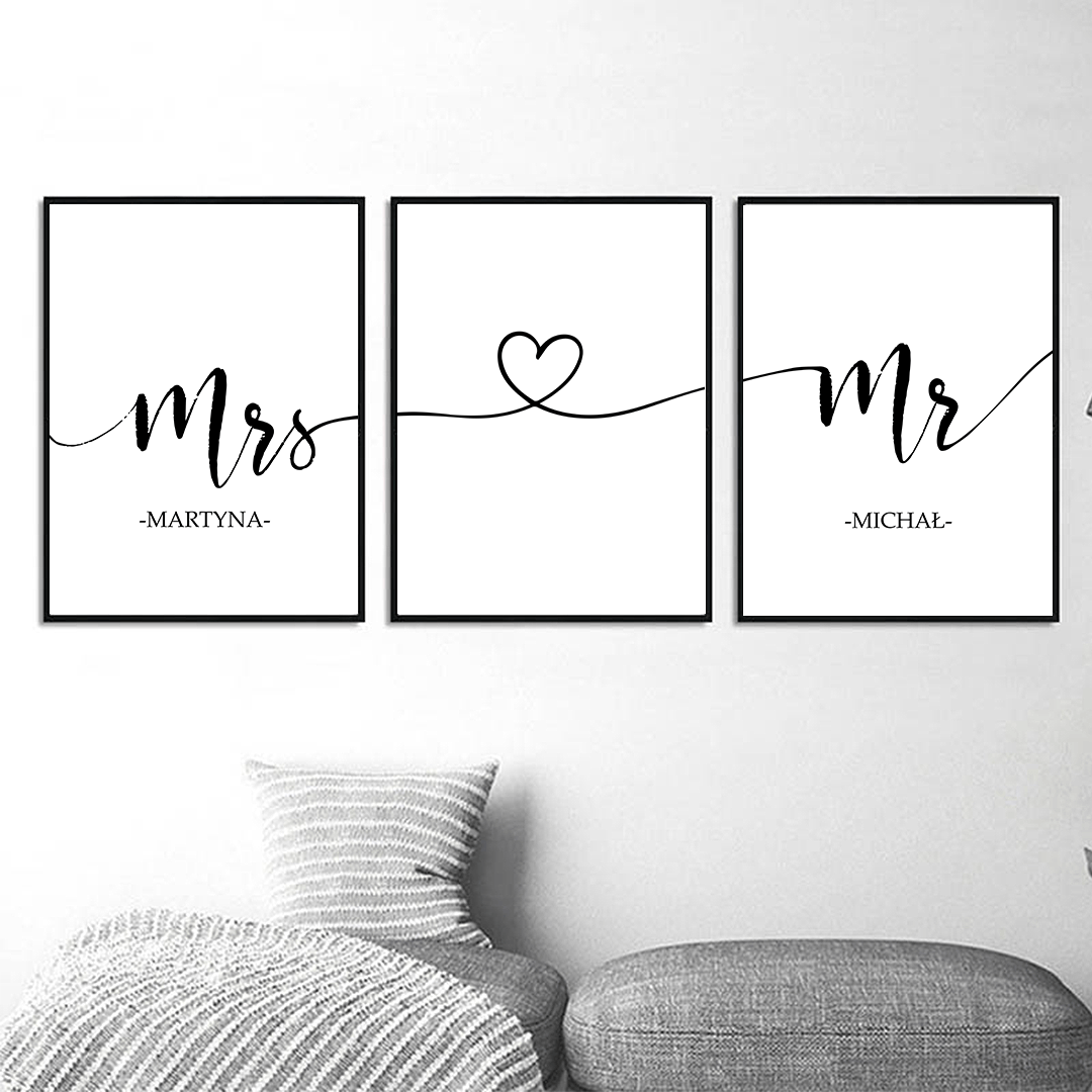 Zdjęcie w galerii - PLAKAT dekoracyjny Mrs&Mr TRYPTYK z imionami (+ramy)