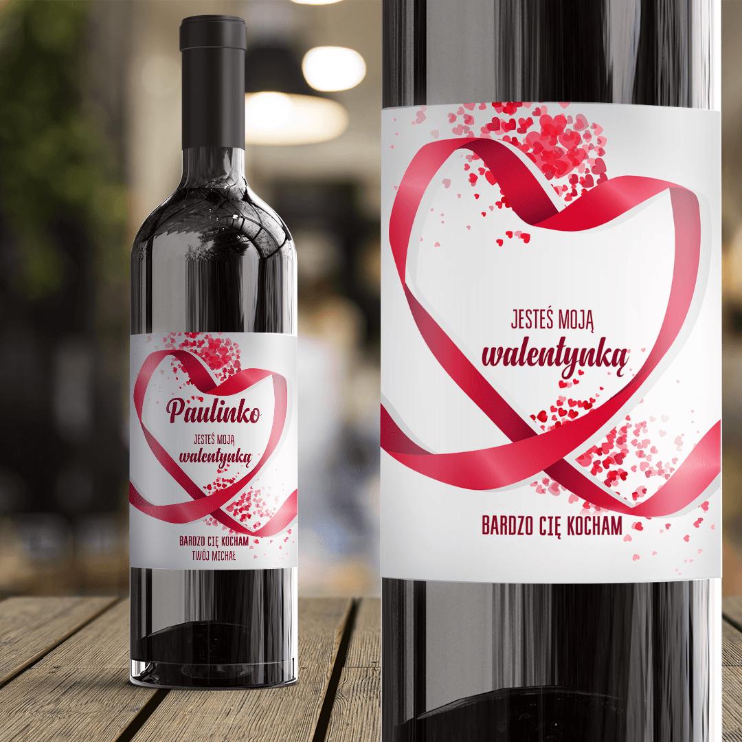 Zdjęcie slidera - ETYKIETA na Wino Prezent Walentynkowy Jesteś Moją Walentynką z IMIONAMI