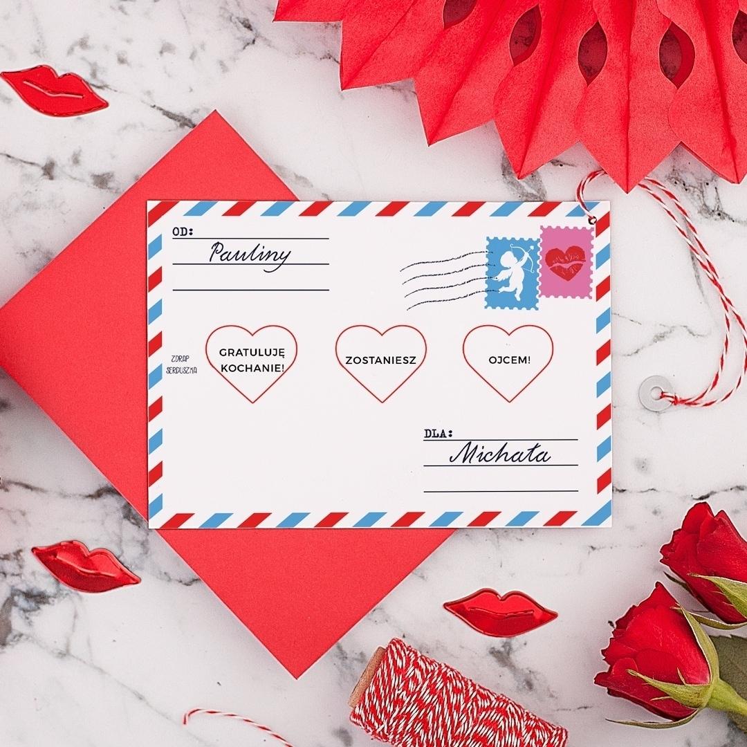 Zdjęcie w galerii - ZDRAPKA Twoja Wiadomość do Ukochanego Prezent Walentynkowy