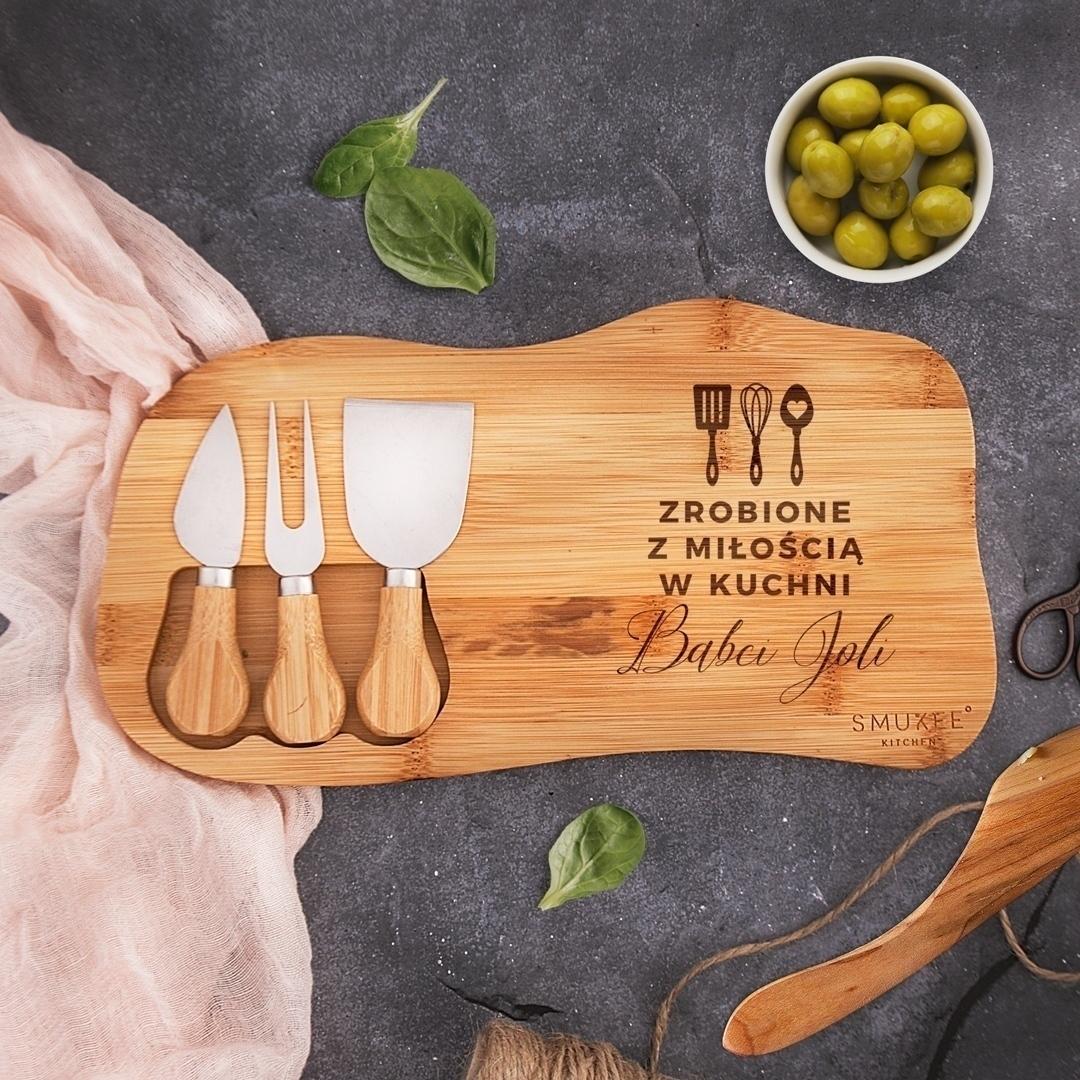 Zdjęcie w galerii - ZESTAW do serwowania serów Prezent dla Babci Zrobione z Miłością w Kuchni