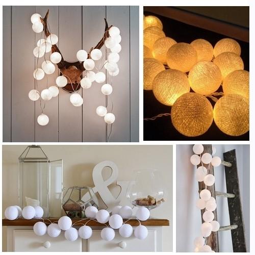 Lampki Dekoracyjne Cotton Ball Lights 10 Kul Różne Kolory