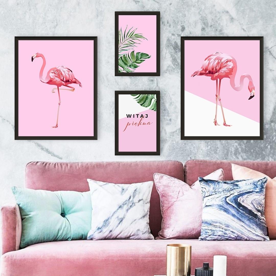Zdjęcie w galerii - PLAKATY dekoracyjne Urocze Flamingi ZESTAW +RAMY
