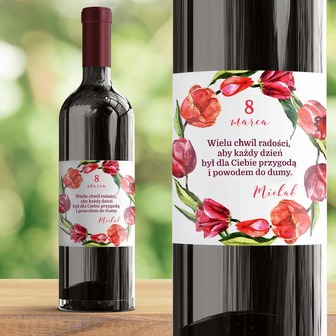Zdjęcie w galerii - ETYKIETA na wino prezent na Dzień Kobiet Wieniec Tulipanów