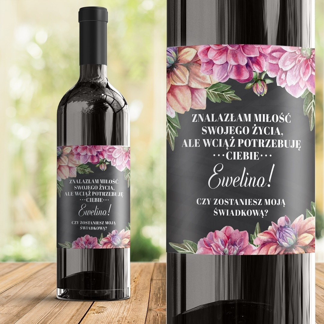Zdjęcie w galerii - ETYKIETA na wino Pytanie Do Świadkowej Kwiaty Piwonii