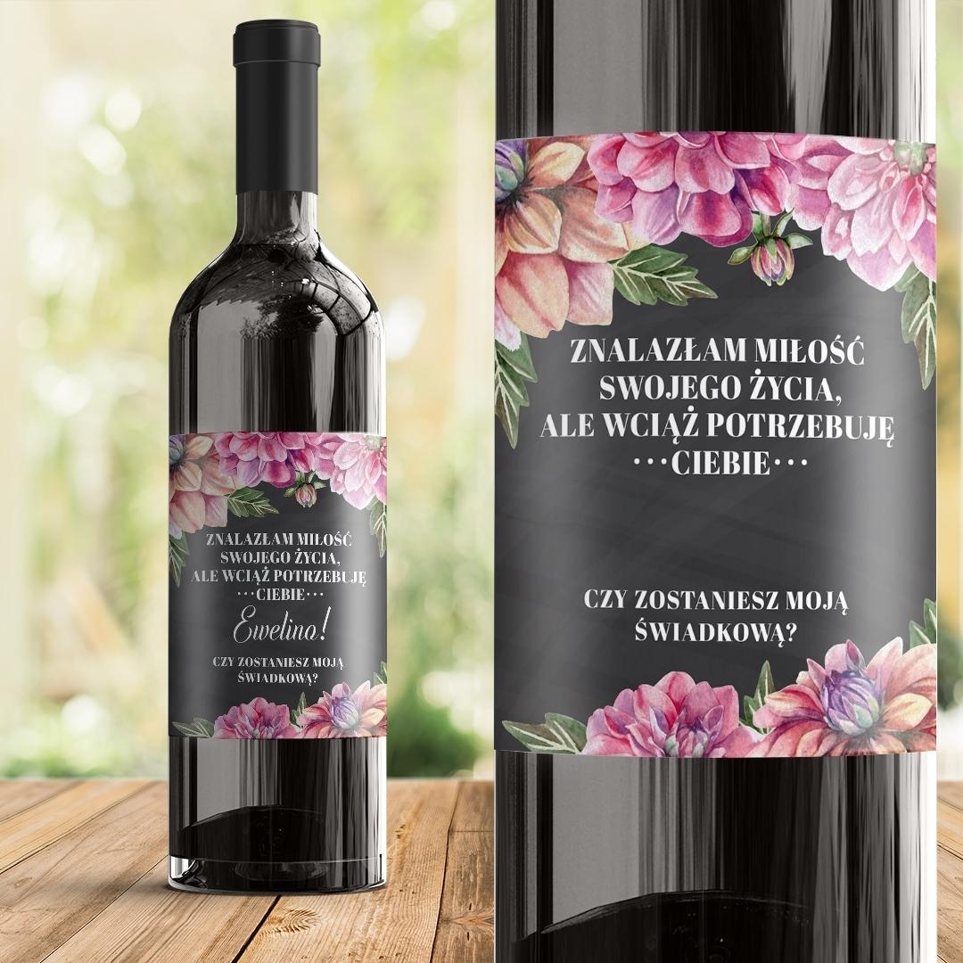Zdjęcie slidera - ETYKIETA na wino Pytanie Do Świadkowej Kwiaty Piwonii