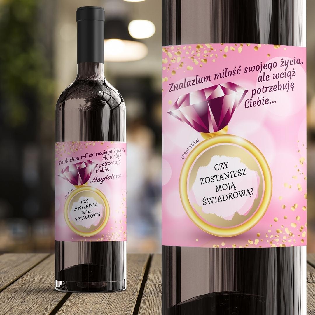 Zdjęcie slidera - ETYKIETA na wino ze ZDRAPKĄ Pytanie do Świadkowej Różowy Brylant