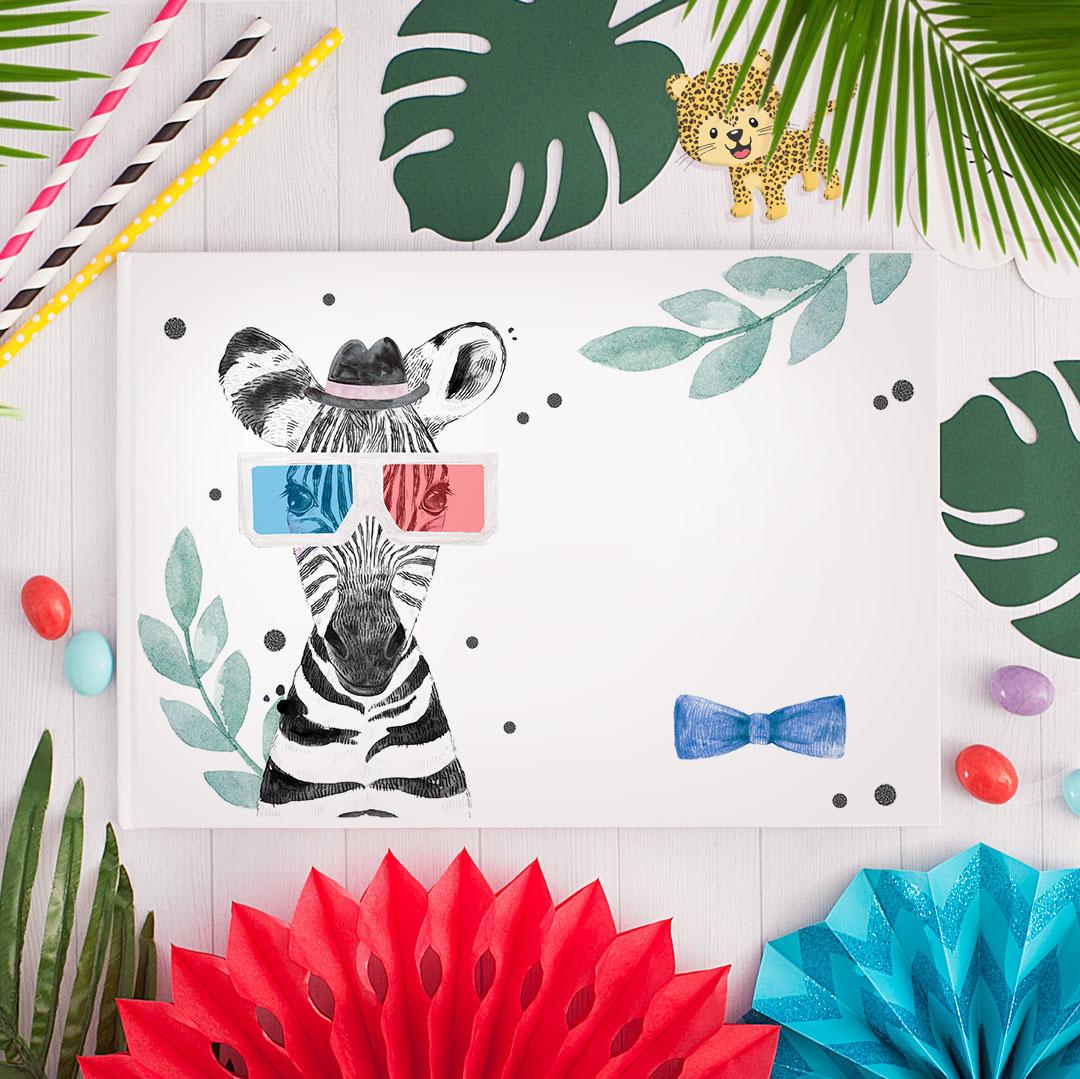 Zdjęcie slidera - ALBUM Do Wklejania Zdjęć Zebra w Okularach Na Urodzinki z IMIENIEM