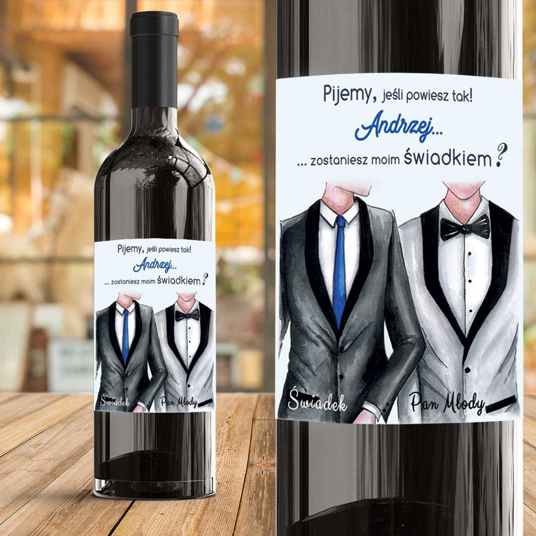 Zdjęcie w galerii - ETYKIETA na Wino Pytanie do Świadka GARNITURY z IMIENIEM