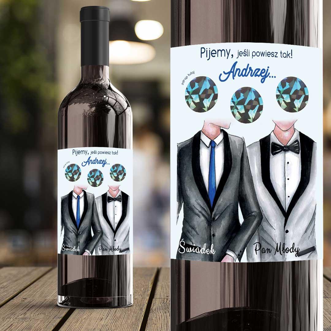 Zdjęcie w galerii - ETYKIETA na Wino ze ZDRAPKĄ Pytanie do Świadka GARNITURY z IMIENIEM