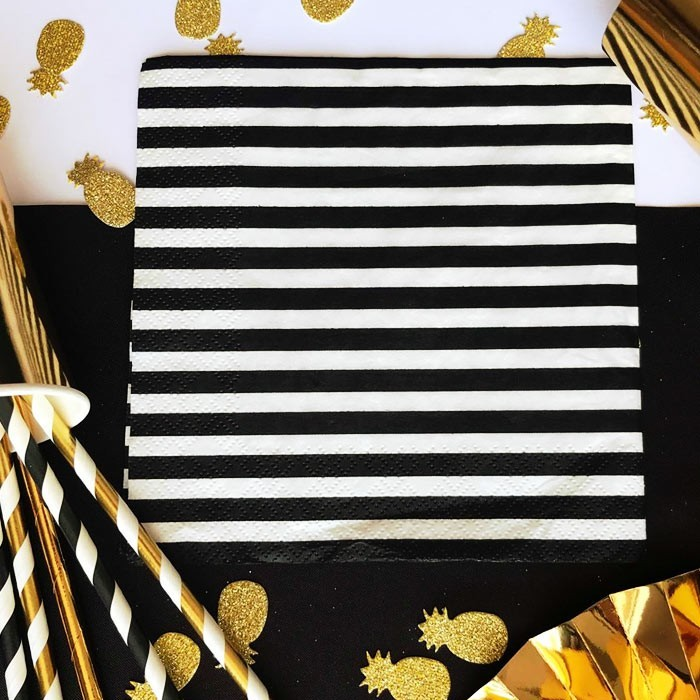 Zdjęcie slidera - SERWETKI papierowe białe w czarne paski 33x33cm 20szt