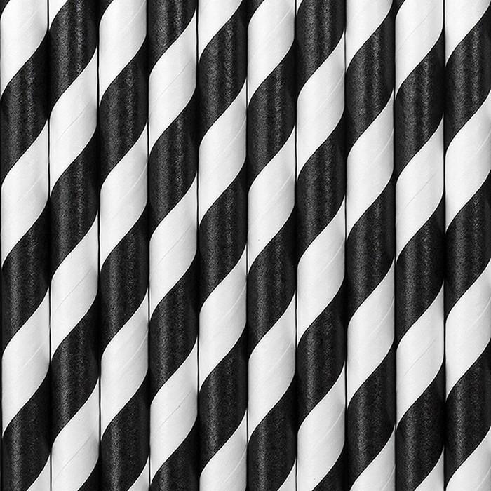 Zdjęcie slidera - SŁOMKI papierowe w paski CZARNE 10szt